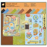 American Traditional - Grade School - Boxed 12x12 Scrapbook Kits w/AlbumsPaper, Stickers, Die Cuts, Chipboard, Ribbons, Buttons